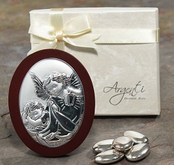 Wood Oval Angel and Baby