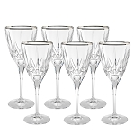 Chic Set of 6 White Wine Goblets with Platinum Trim By Lorren Home Trends