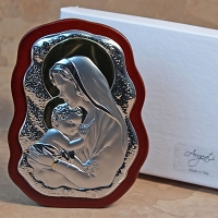 Madonna and Child Silver w/Gold Accent-Scalloped