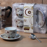 Set of 2 Espresso Cup and Saucer in Gift Box