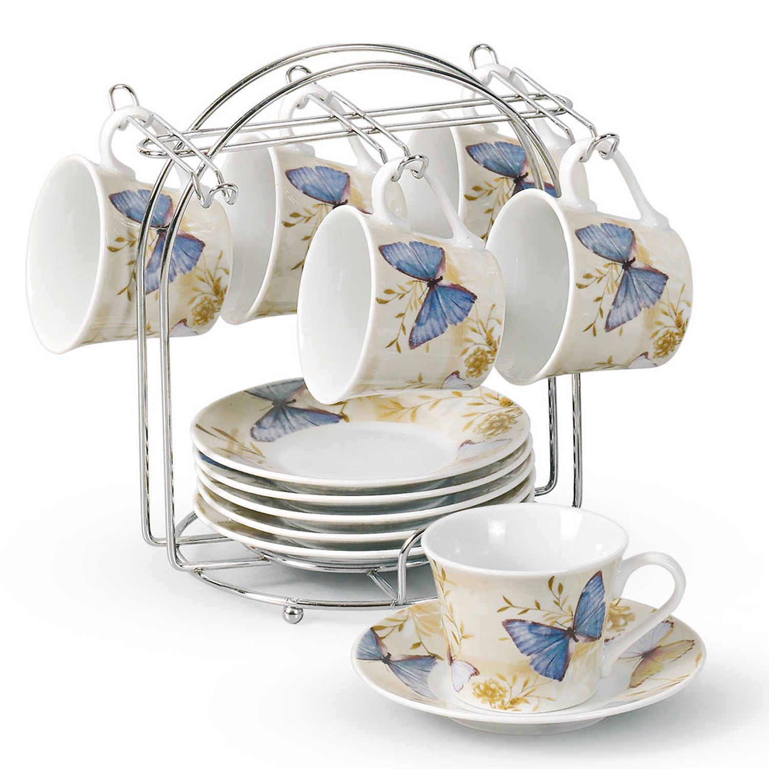 Home Table Top Coffee Tea Set Of 6 Espresso Cups On Metal Stand