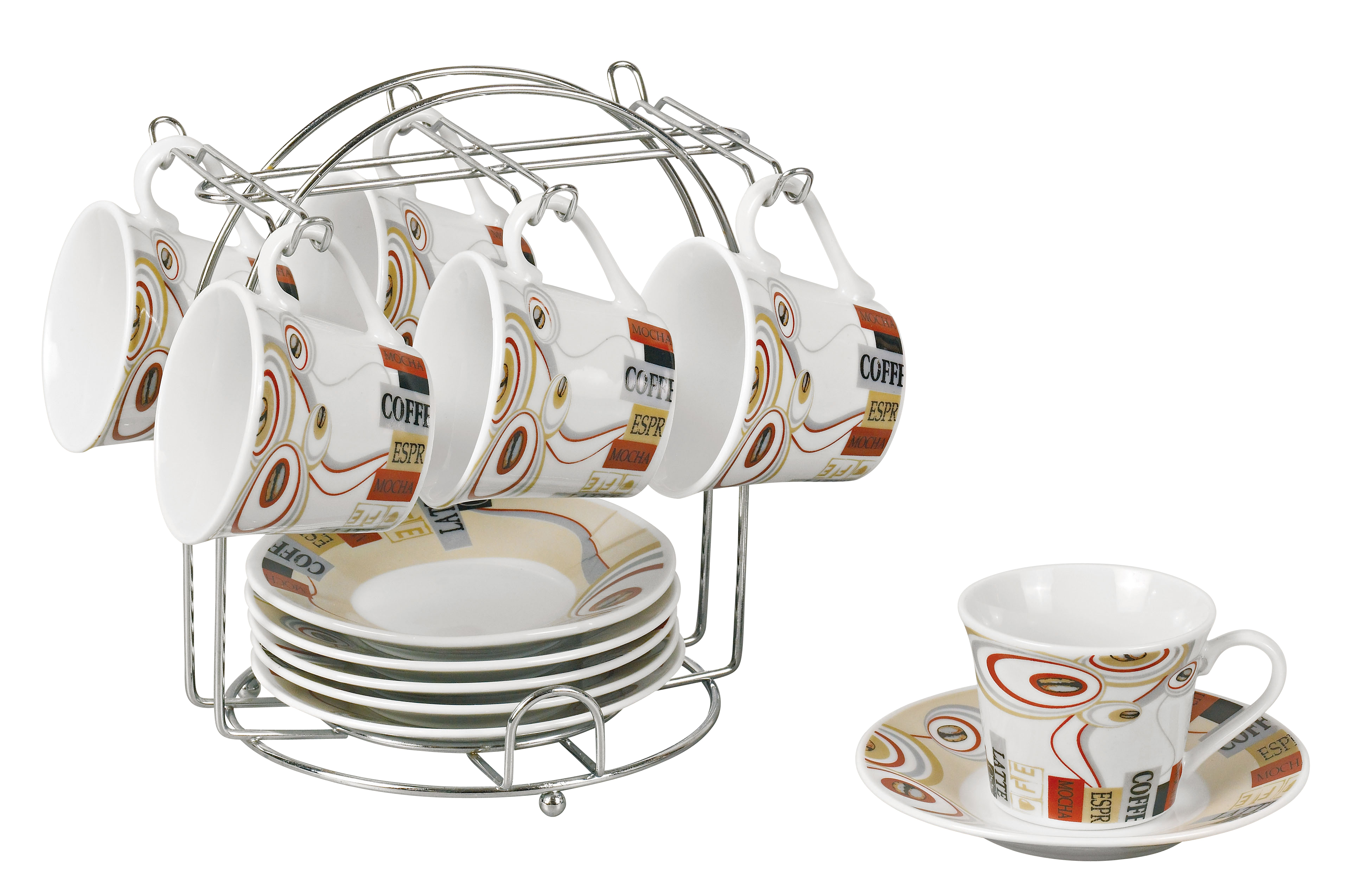 Set Of 6 Espresso Cups On Metal Stand
