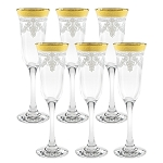 Flutes Set of 6 Stencil Pattern and Gold Band