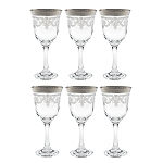 Red Wine Set of 6 Stencil Pattern and SIlver Band