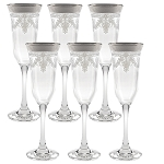 Flutes Set of 6 Stencil Pattern and SIlver Band