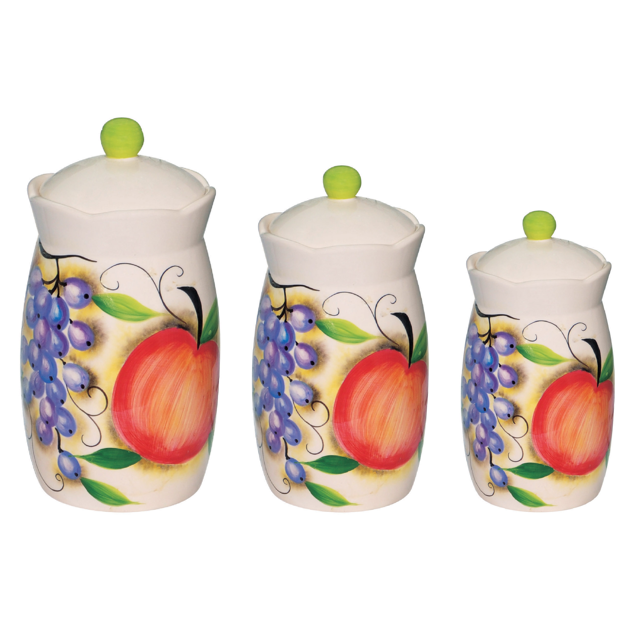 fruit design 3 piece canister set
