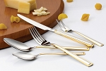 20 Piece 18/10 Flatware set, Service for Mirror and Gold finish-Clara Design