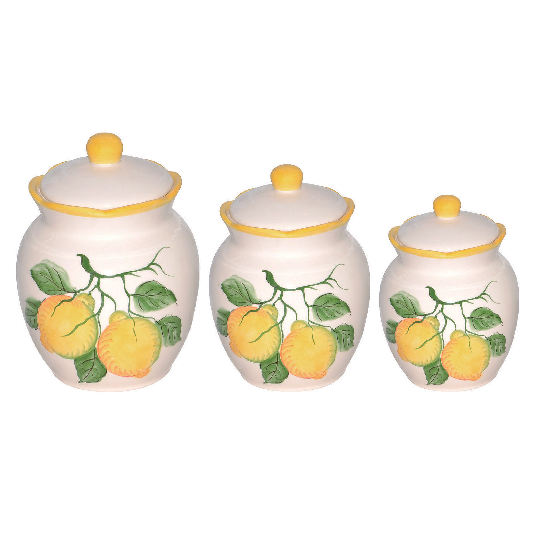 top lemon collection lemon design 3 piece deluxe canister set