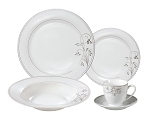 Porcelain  Dinnerware Set, 24 Piece Service for 4 by Lorren Home Trends: Silver Floral