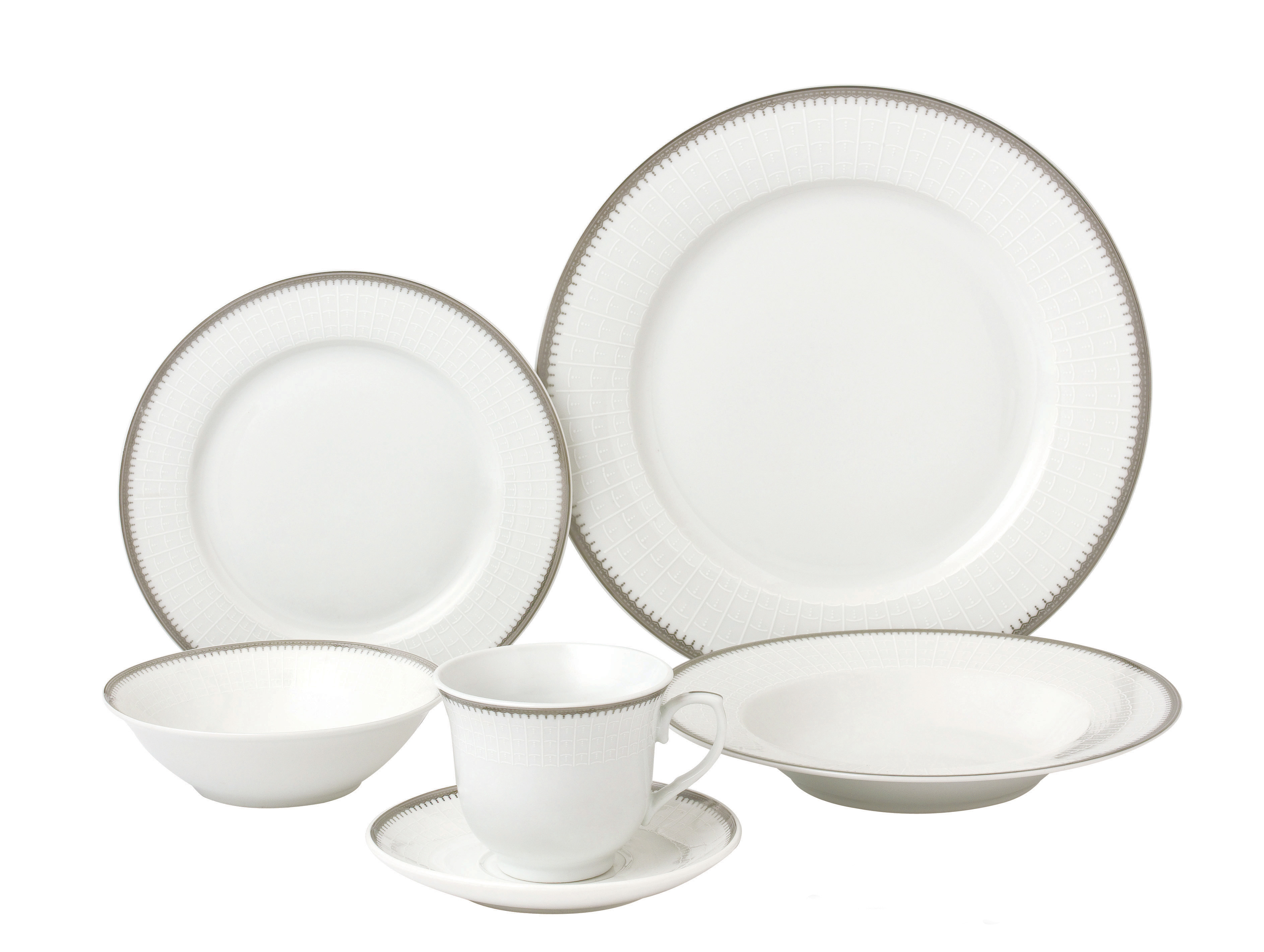 Quick View  sc 1 st  Lorenzo Import & 24 Piece Silver Porcelain Dinnerware Service for 4-Alyssa