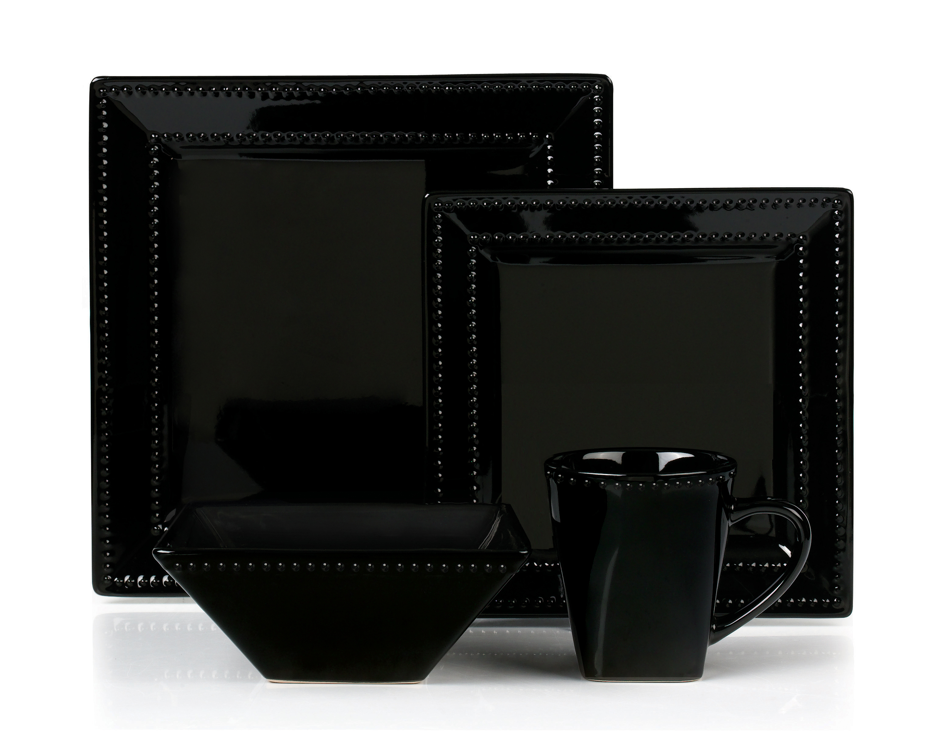 Quick View  sc 1 st  Lorenzo Import & 16 Piece Square Beaded Stoneware Dinnerware set by Lorren Home ...