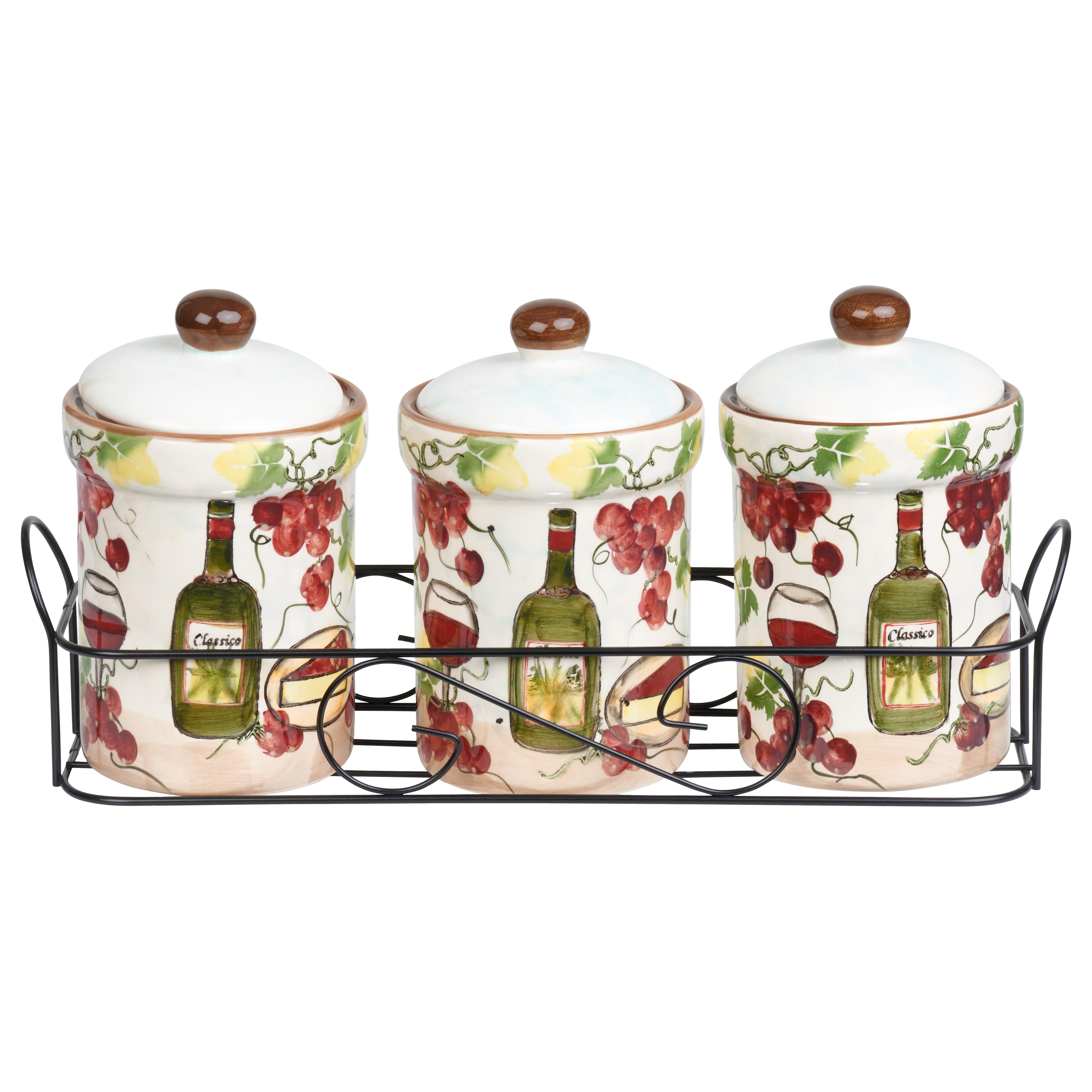 Quick View  sc 1 st  Lorenzo Import & Purple Grape Ceramic 3 Piece Jar Set in Stand