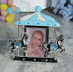 Pewter Blue Carousel Frame with Stones