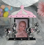 Pewter Pink Carousel Frame with Stones