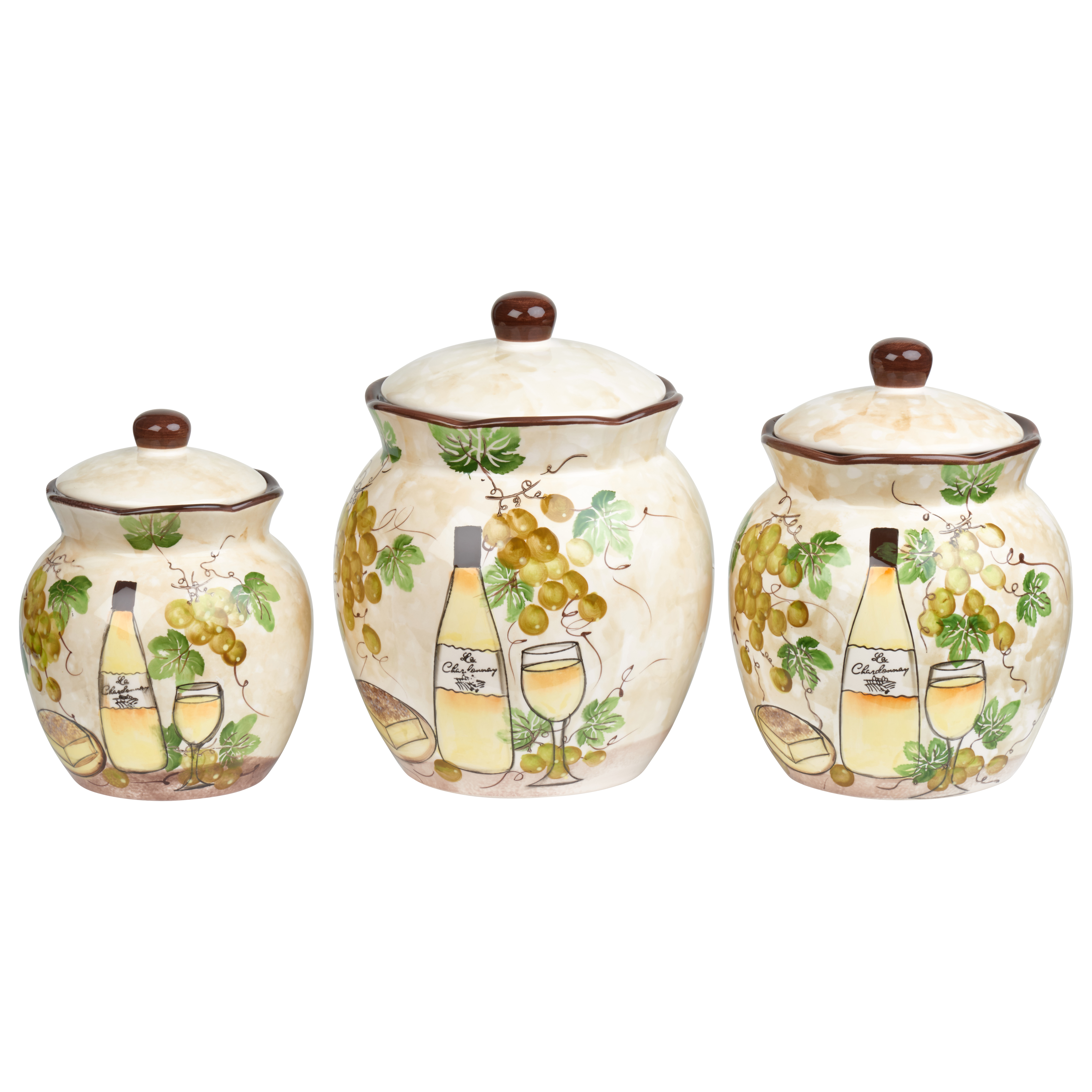 White Grape Ceramic 3 Piece Deluxe Canister Set