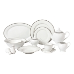 57 Piece Silver Border Porcelain Dinnerware Set-Service for 8-Alyssa