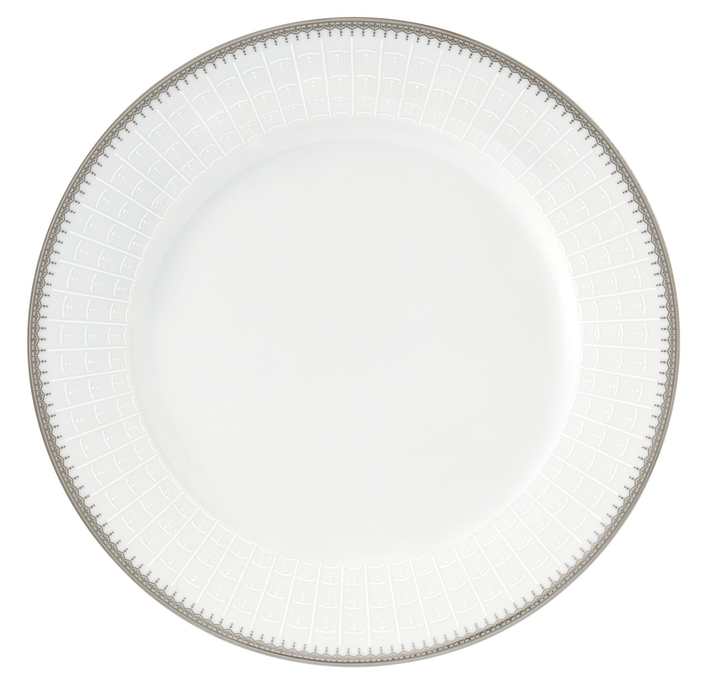 57 Piece Silver Border Porcelain Dinnerware Set Service For 8 Alyssa