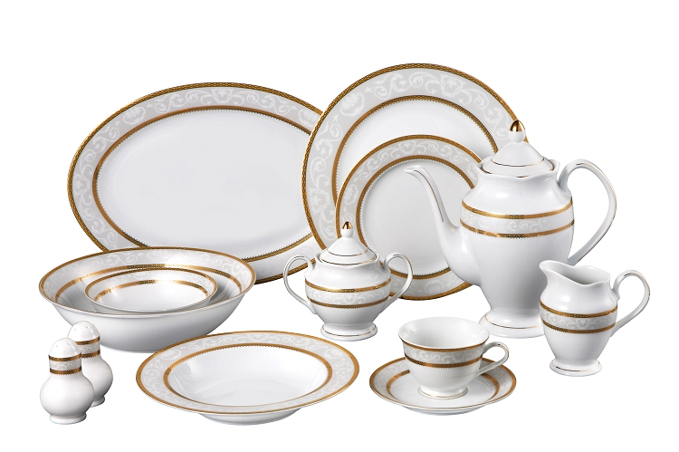 sc 1 st  Lorenzo Import & 57 Piece Gold Border Dinner Set Service for 8. By Lorren Home Trends