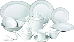 57 Piece Silver Border Porcelain Dinnerware set, service for 8