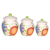 Fruit Design 3 Piece Deluxe Canister Set