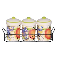 Fruit Design 3 Piece Spice Jar on Metal Stand