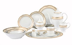 57 Piece Wavy Edge Gold Border Dinnerware, Service for 8.  By Lorren Home Trends