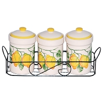 Lemon Design 3 Piece Spice Jar on Metal Stand
