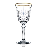 Siena Collection Set of 4 Crystal White Wine Glass with gold band design by Lorren Home Trends