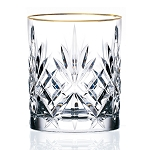 Siena Collection Set of 4 Crystal Double Old Fashion beverage Glass with gold band design by Lorren Home Trends