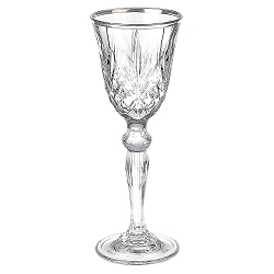 Reagan Collection Set of 4 Crystal Double Old Fashion beverage Glass with silver band design by Lorren Home Trends (COPY)