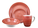 16 Piece Round Stoneware Dinnerware Set Red