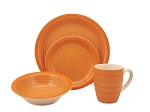 16 Piece Round Stoneware Dinnerware Set Orange