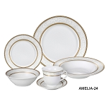 Porcelain  Dinnerware Set, 24 Piece Service for 4 by Lorren Home Trends: Amelia Design