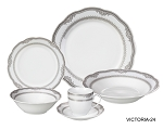 Porcelain Wavy Edge Dinnerware Set, 24 Piece Service for 4 by Lorren Home Trends: Victoria Design