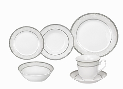 Porcelain  Dinnerware Set, 24 Piece Service for 4 by Lorren Home Trends: Ballo Design
