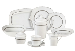 47 Piece Square Greek Key Dinnerware Service for 8, by Lorren Home Trends