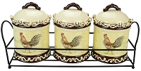 3 Piece Spice Jar in Metal Stand Morning Rooster Collection