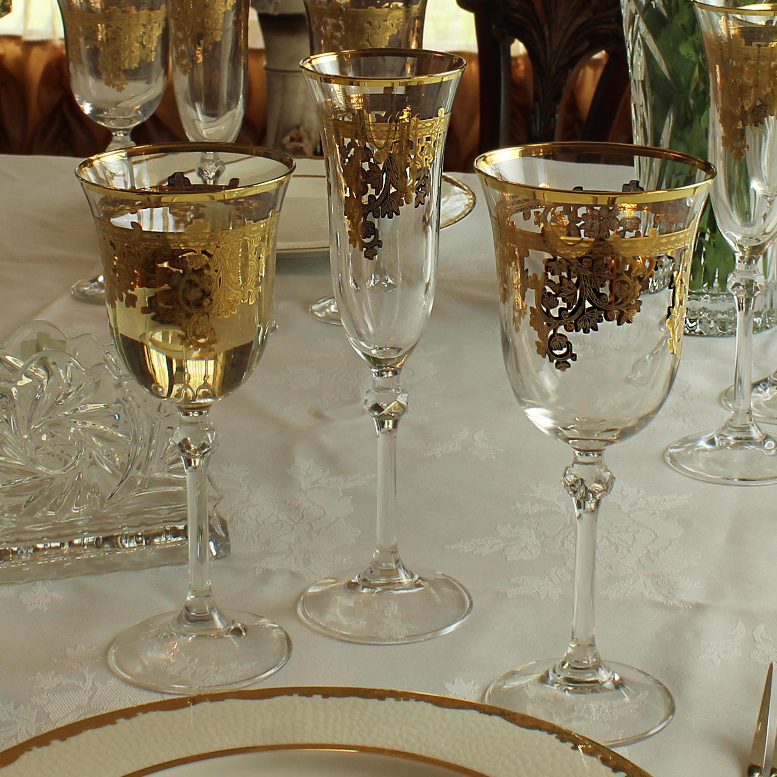 Set Of 6 Embellished 24k Gold Crystal White Wine Goblets