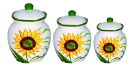 Sunflower Design 3 Piece Deluxe Canister Set