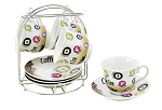Set of 4 Coffee Cups On Metal Stand-Colorful
