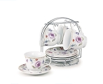 8oz. Set of 4 Coffee/Tea Cups On Metal Stand-Purple Flower