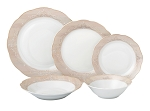 20 Piece Porcelain 5 piece place setting-Service for 4-Gold Floral