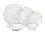 20 Piece Porcelain 5 piece place setting-Service for 4-Gold Wavy Line