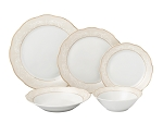 20 Piece Porcelain 5 piece place setting-Service for 4-Gold Scroll