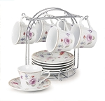 Set of 6 Espresso Cups 2oz. On Metal Stand-Purple Flower