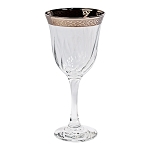 Set of 6 White Wine Goblets-Silver Band Venetian Design