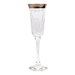 Set of 6 Flute Goblets-Silver Band Venetian Design