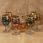 Pitcher and Goblet Set-7 Piece Multicolor-Veneziano