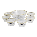 7 Piece Bowl Set with Gold Trim