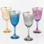 Set of 4 Multicolor Wine Goblets Grape Design